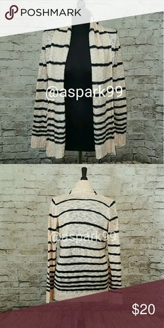 Peach Black striped Cardigan NWT NWT! Charlotte Russe, Size Large. Fine for Women ams juniors. 100% Acrylic. Soft to the touch ?? No trades Charlotte Russe Sweaters Cardigans