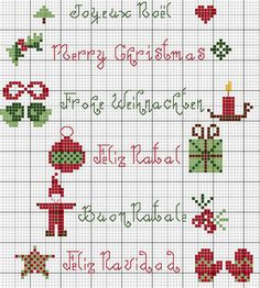 jpg Christmas sampler from France; Different ways to say Merry… Xmas Cross Stitch, Cross Stitch Borders, Cross Stitch Charts, Cross Stitch Designs, Cross Stitching, Cross Stitch Embroidery, Cross Stitch Patterns, Christmas Sewing, Christmas Embroidery