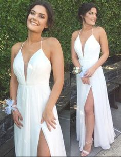 White Deep V-neck Sleeveless Backless Pleated Floor-length Prom Dress prom dress,prom dresses,dress,dresses,fashion,fashions