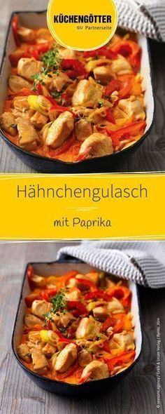 Hähnchengulasch mit Paprika Recipe for chicken goulash with peppers Salmon Recipes, Meat Recipes, Chicken Recipes, Dinner Recipes, Cooking Recipes, Healthy Recipes, Shrimp Recipes, Avocado Recipes, Goulash