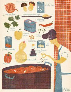 Woodblock print illustrated recipes by Barbara Dziadosz Illustration Fun Illustration, Graphic Design Illustration, Recipe Drawing, Food Drawing, Illustrations And Posters, Food Art, Screen Printing, Pattern Design, Art Paintings