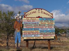 Welcome to Cimarron, New Mexico!  Love this sign!
