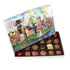 YAY! Can't wait to get my chocolates in the mail! I love the Pittsburgh skyline <3 and Sarris Candies!