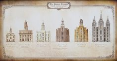 The Pioneer Temples- Accurately scaled relative to each other and in chronological order left to right