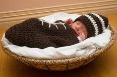 Newborn Crocheted Football Cuddle Sack and Matching Hat, Photo Prop, Newborn, Baby Gift on Etsy, $30.00