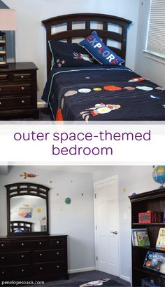Let your toddler's imagination soar to new heights with this outer space-themed bedroom. This creative design uses colorful wall decals of planets and stars to make this big kid bedroom feel like it's galaxies away. Click here for more DIY design inspiration and see how you can create this same look in your child's bedroom today.