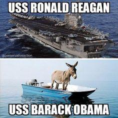 Bottoms Up on The bad ship lollipop!  Obamination Barge!