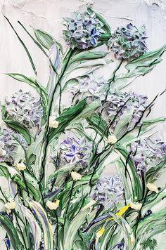 "24""x36"" - Acrylic on canvas - Flora Series: Hydrangea - Artist, Justin Gaffrey"