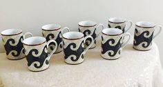 8 Eight Vintage Sasaki Pompeii China Mugs Tan by LalasCollections