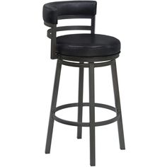 "Armen Living Madrid 30"" Bar Height Metal Swivel Barstool in Ford Black Pu and Mineral Finish"