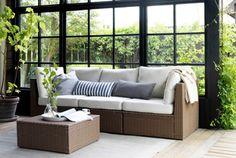 ARHOLMA plastic rattan outdoor modular seating with cushions