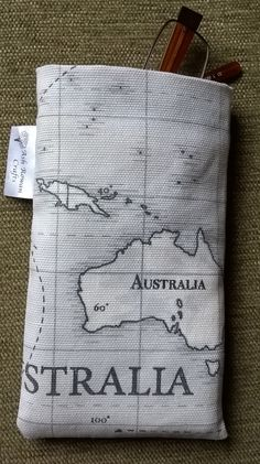 Glasses Case- funky map of world fabric