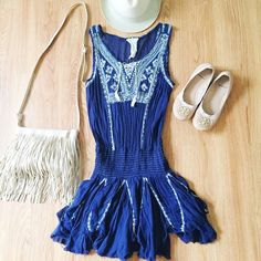 Free People Navy Embroidered Dress Super lightweight and funky free people dress. Fits super comfy and can be worn as a dress or as a cover up! Worn a few times. Reasonable offers only, no trades. Bundle 3 items for 20% off ✨ Free People Dresses Mini