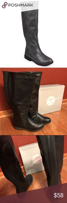 """NIB Journee Wide Calf Riding Boots Never used - Black wide calf boots. Faux leather upper and a 16"""" shaft height. Elastic back. Also a 16"""" calf circumference. Journee Collection Shoes Over the Knee Boots"""