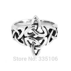 Wholesale Celtic Knot Ring Stainless Steel Jewelry Silver Claddagh Style Fashion Motor Biker Ring Women SWR0637