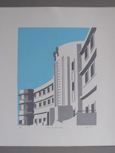 The Midland Hotel, Morecambe, by Inkshed Press Midland Hotel, Morecambe, Linocut Prints, All Print, Travel Posters, Digital Illustration, Different Colors, Art Deco, The Originals