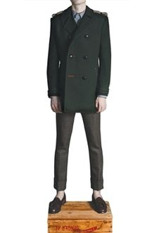 DARK-GREEN PEA COAT by Duly Equipped