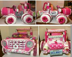 Diaper Jeep cake for girl
