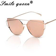 b64e12c55c25 2016 Brand Designer Fashion Cat Eye Sunglasses Women Twin-Beams Stylish  Aviation Ladies Sunglasses Mirror Flat Alloy Frame