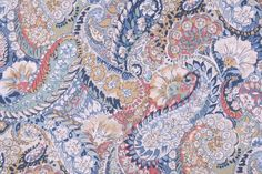 """Robert Allen Zen Paisley Printed Cotton Drapery Fabric in Porcelain.      Fiber Content: Cotton    Width: 55"""" (inches)    Pattern Repeat in Inches: 25x27    Note: The price i..."""