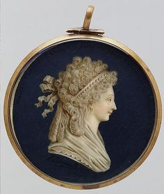 Miniature of Marie Therese Charlotte, painted in 1795, the year she was finally released from the Temple Prison.
