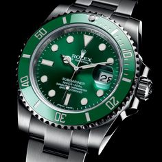 """Imagine if you exposed a Rolex to gamma rays? The Rolex """"Hulk"""" Submariner 116610 LV combines the Rolex Submariner with a green bezel & dial. Big Watches, Best Watches For Men, Sport Watches, Luxury Watches, Cool Watches, Rolex Watches, Casual Watches, Wrist Watches, Rolex Oyster Perpetual"""