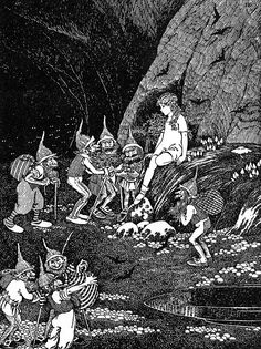 """Keep her in our cavern for our Queen!"" Illustration by Ida Rentoul Outhwaite from 'The Little Green Road to Fairyland' (1922)"