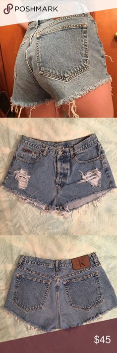 """Vintage Calvin Klein Cut-Off High-Waisted Shorts! Vintage medium wash cut off high waisted shorts from Calvin Klein! Has a button closure instead of a zipper! Tag says size 13 but they fit  like an 8-10! Measurements include: waist-30"""", hip-40"""", rise-12"""", length from hip-11"""", inseam-1.5""""! These were cut at an angle and are super flattering and look amazing on! For reference I am an 8 so if you want them to fit a little looser they will work for a size 8 but they measure at a 10! Calvin Klein…"""