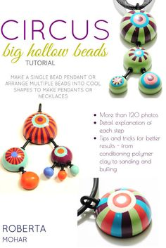 Polymer clay tutorial - CIRCUS - Step by step instructions to make big hollow beads with graphic pattern - PDF Instant download by RobertaMArt on Etsy