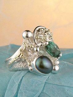 Gregory Pyra Piro #Schmuckkunst Silber und Gold mit #Edelsteinen Unikat #Ring Nr. 4978