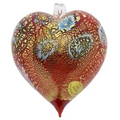 Clear Christmas LAVED Pendant Ornament  Italian Hand Blown Painted Glass Italy