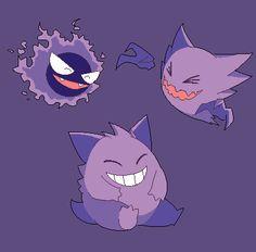 "kurokku-tokei: "" Laughing Gastly, Haunter and Gengar for Anon~ """