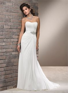 Sheath/Column Scoop Neckline Sash Beaded and Pleated Chiffon Wedding Dress WD1893 www.tidedresses.co.uk $248.0000