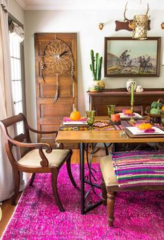 eclectic bohemian style fall dining room- awesome colors! Far Above Rubies: Eclectically Fall Home Tour