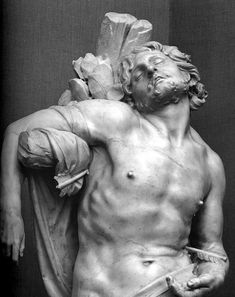 St. Sebastian is an early sculpture by the Italian artist Gian Lorenzo Bernini. Executed in 1617 and 1618, it features the Christian martyr St Sebastian pinned to a tree, his flesh filled with arrows. It is smaller than life size. The sculpture is part of the Thyssen-Bornemisza Collection, and is currently shown in the Museo Thyssen-Bornemisza in Madrid (Thx Rosemary)