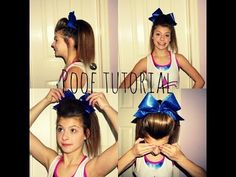 Cheer poof tutorial ♥ This one is very good. I don't use the clear elastic because it usually puts a dent in my poof but if you have thick hair you might want to do that.