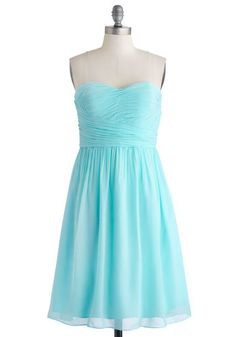 Under a Blue Sky Dress - Woven, Chiffon, Short, Blue, Solid, Prom, Wedding, Bridesmaid, Pastel, A-line, Strapless, Better, Sweetheart, Ruchi...