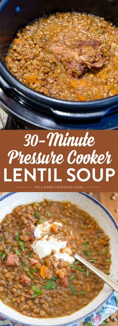 Pressure Cooker Lentil Soup ~ a delicious, hearty soup is just half an hour away when you use your Instant Pot! Lentil Soup Pressure Cooker, Instant Pot Pressure Cooker, Pressure Cooker Recipes, Pressure Cooking, Ham And Lentil Soup, Lentil Soup Recipes, Ham Bone Soup, Ham Soup, Sausage Soup