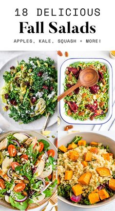 Tasty fall salads packed full of seasonal produce like crisp apples, squash, kale and more! Take advantage of the autumn harvest with these salad recipes.