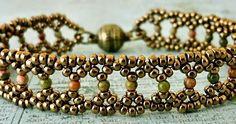"SILVER LACE BRACELET 11/0 seed beads Miyuki ""Dark Bronze"" (11-457D) 2mm Unakite round stone beads (Aura Crystals) I didn't have m..."
