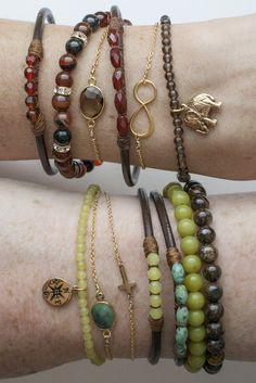 5 Perfect Gems Leather Bracelet-Ocean Colors