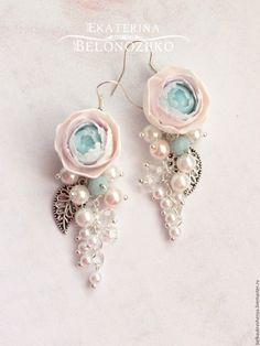 Купить Серьги Ледяной пион - розовый, нежность, шебби, розовый и голубой, серый и розовый