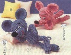 Мышки - вызанные игрушки крючком, схема вязания