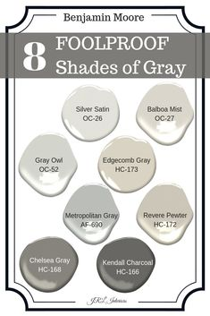These shades of gray work in so many places they are practically foolproof! Neutral Paint Colors, Best Paint Colors, Room Paint Colors, Interior Paint Colors, Paint Colors For Home, Wall Colors, Gray Paint, Shades Of Grey Paint, Exterior House Colors