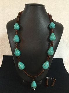 Necklace and Earring Set: Turquoise and Brown Crystal Necklace Set. Teardrop Turquoise Beads. Brown Crystals. Great Gift for Mom!