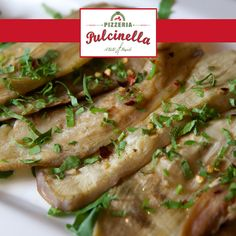 Melanzane Arrostite - Roasted eggplant seasoned with vinegar, garlic, parsley and chili flakes to add a little spice pulcinelladubai.com   800 PIZZERIA #seafood #food