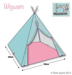 diy make wigwam teepee - Fabric Craft Diy Tipi, Diy Teepee Tent, Kids Tents, Teepee Kids, Teepees, Play Teepee, Tutorial Tipi, Sewing For Kids, Diy For Kids