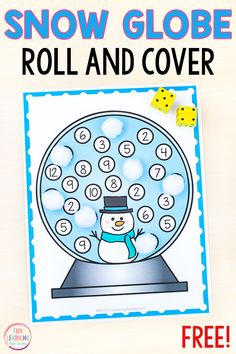 Free printable snow globe roll and cover math game for preschool and kindergarten math centers this winter. A fun math learning activity for winter! Great for snowman theme too! #preschool #kindergarten #winteractivities #mathcenters