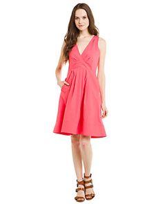 "Cynthia Rowley ""Dance"" Coral Cotton Shirting Dress"