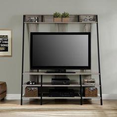 Altra Furniture TV Stand ($150) via Polyvore featuring home, furniture, storage & shelves, entertainment units, media stand, ladder shelves, book shelf, ladder book shelves and ladder book shelf